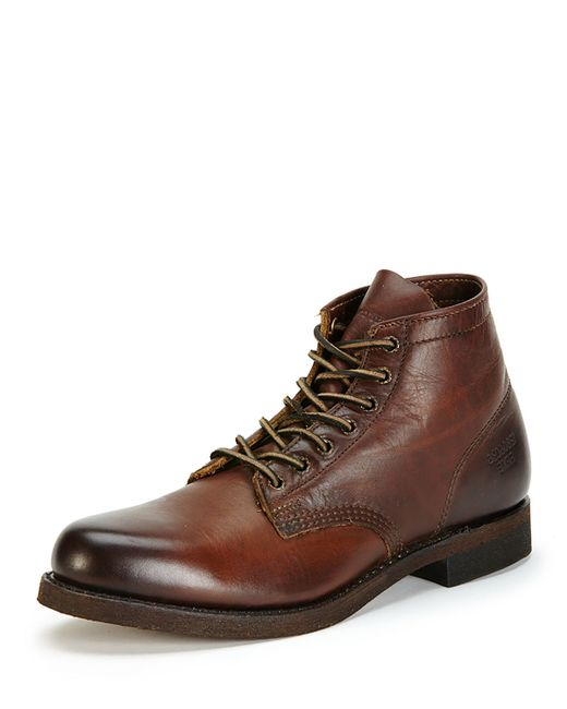 Frye Prison Lugged Sole Leather Boots In Brown Dark Brown