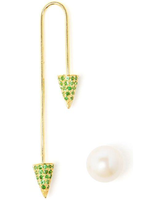 Asherali Knopfer | Green 18k Yellow Gold Tsavorite And Pearl Bar Earring | Lyst