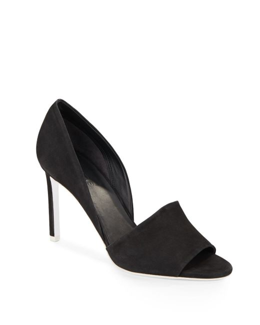 VINCE | Black Saffron Suede Open-toe Pumps | Lyst