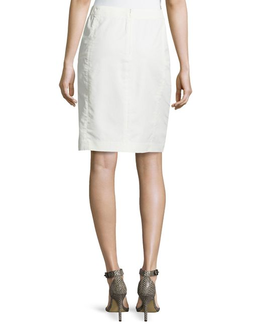 heritage leather combo pencil skirt in beige