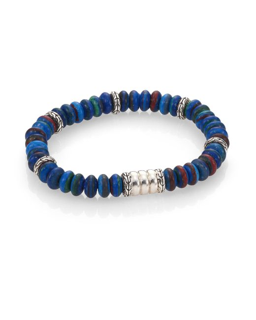 John Hardy | Blue Classic Chain Lapis & Sterling Silver Beaded Stretch Bracelet | Lyst