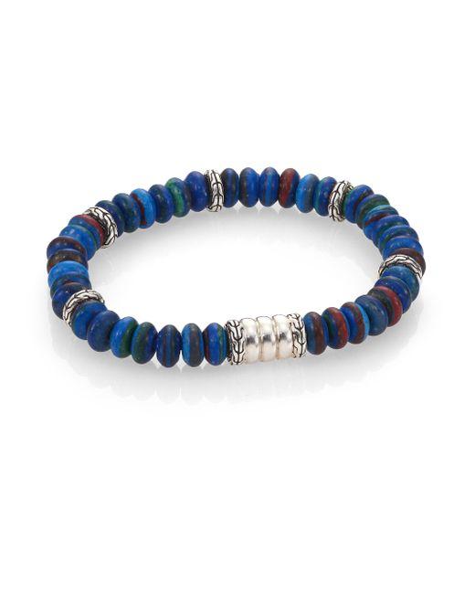 John Hardy | Blue Batu Bedeg Sterling Silver Beaded Bracelet/rainbow Calsillica | Lyst