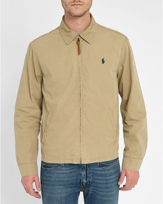 Polo ralph lauren beige shirt collar chino jacket in beige for Polo shirt with jacket