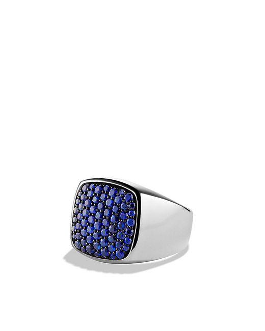 David Yurman | Metallic Pave Signet Ring With Sapphires for Men | Lyst