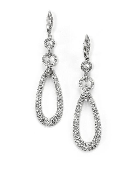 Adriana Orsini   Metallic Pavà Chain Link Teardrop Earrings   Lyst