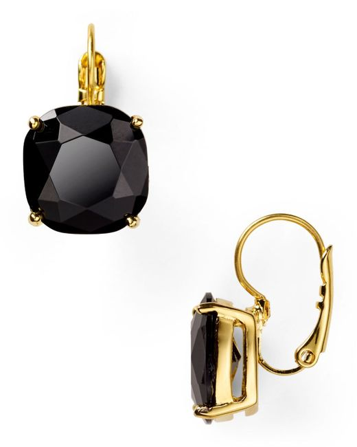 Kate Spade | Black Small Square Leverback Earrings | Lyst