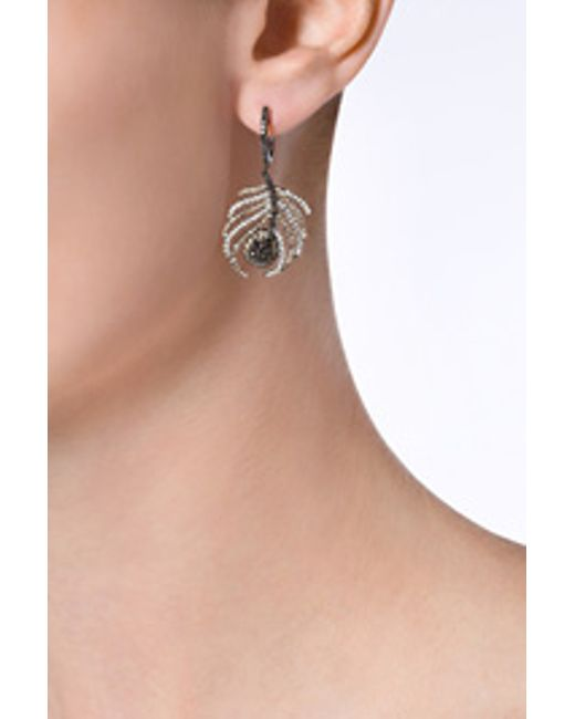 Nikos Koulis | Black Rhodium/diamond Paradise Peacock Earrings - Silver | Lyst