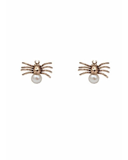 Bernard Delettrez | Metallic Bronze Spider With Pearl Earrings | Lyst