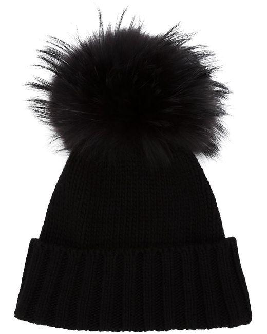 Inverni | Black Pompom Beanie | Lyst