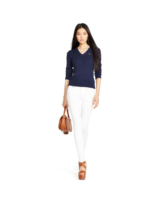 Polo Ralph Lauren | Blue Cable V-neck Sweater | Lyst