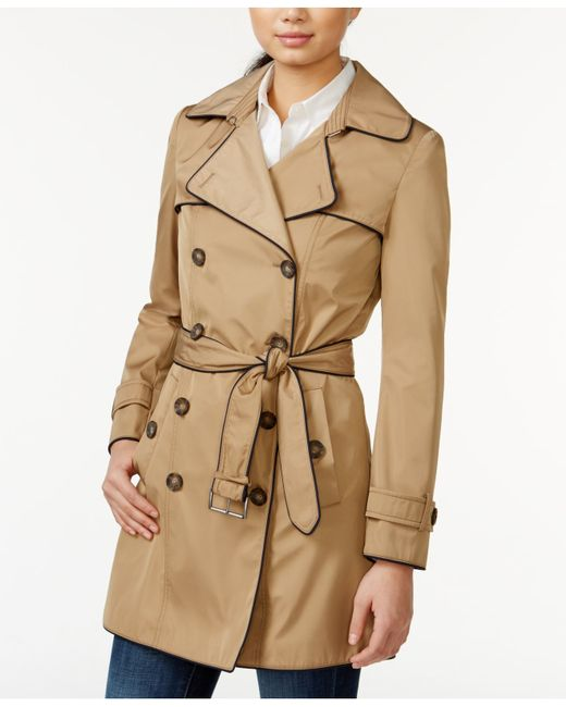 tommy hilfiger piped belted trench coat in natural khaki. Black Bedroom Furniture Sets. Home Design Ideas