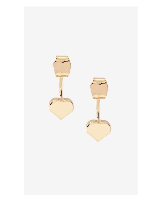 Express   Metallic Polished Metal Heart Jacket Earrings   Lyst