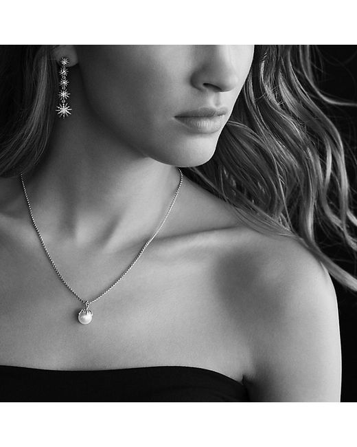 David Yurman | White Starburst Pearl Pendant Necklace With Diamonds In Gold | Lyst