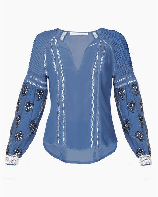 Veronica Beard | Blue Alpine Raglan Emb Slv Boho Blouse | Lyst