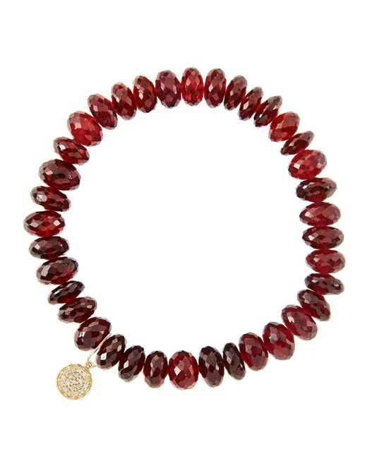 Sydney Evan | 8Mm Faceted Garnet Beaded Bracelet With 14K Yellow Gold/Diamond Small Disc Charm (Made To Order) | Lyst