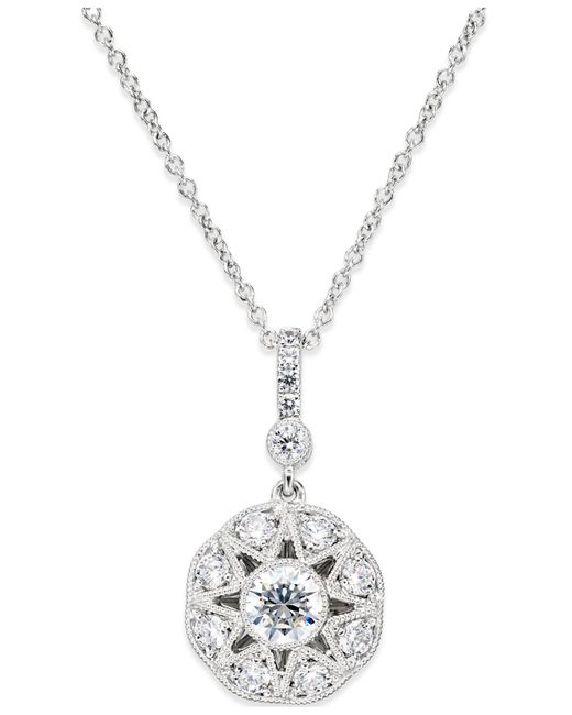 Marchesa | Diamond (3/4 Ct. T.w.) Flower Pendant In 18k White Gold | Lyst