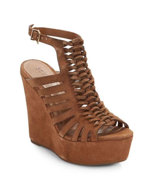 schutz rachelle suede open back wedge sandals in brown