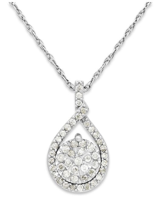 Macy's | Metallic Diamond Cluster Pendant Necklace In Sterling Silver (1/5 Ct. T.w.) | Lyst