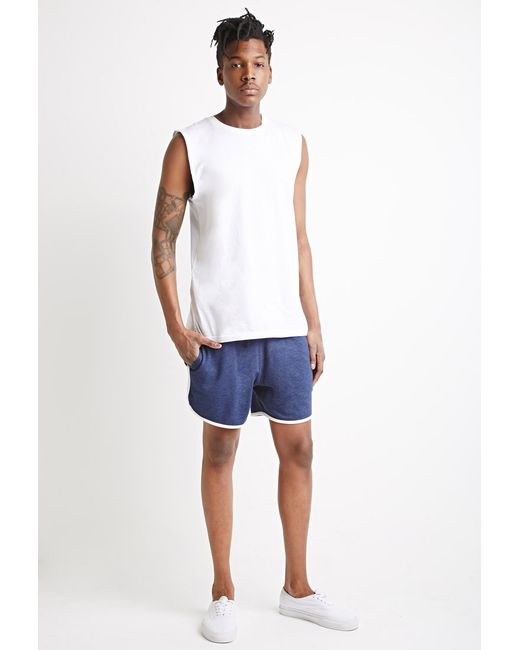 Forever 21 | Blue Contrast-trimmed Drawstring Sweatshorts for Men | Lyst