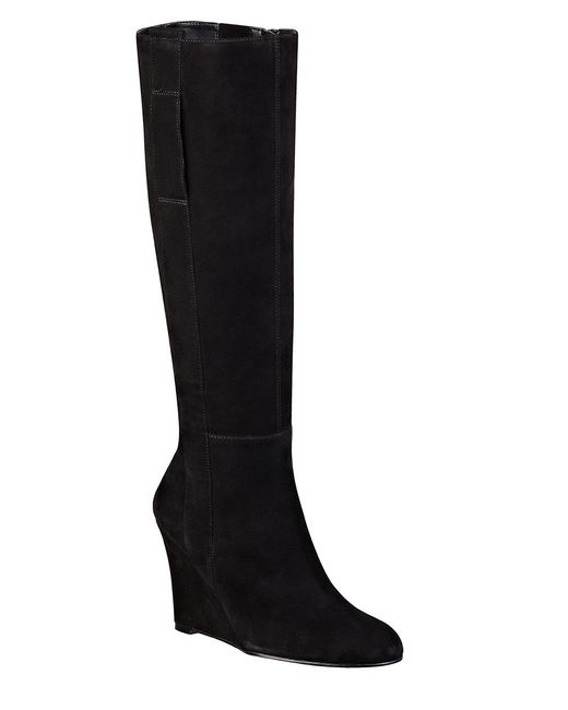nine west oran suede wedge boots in black lyst
