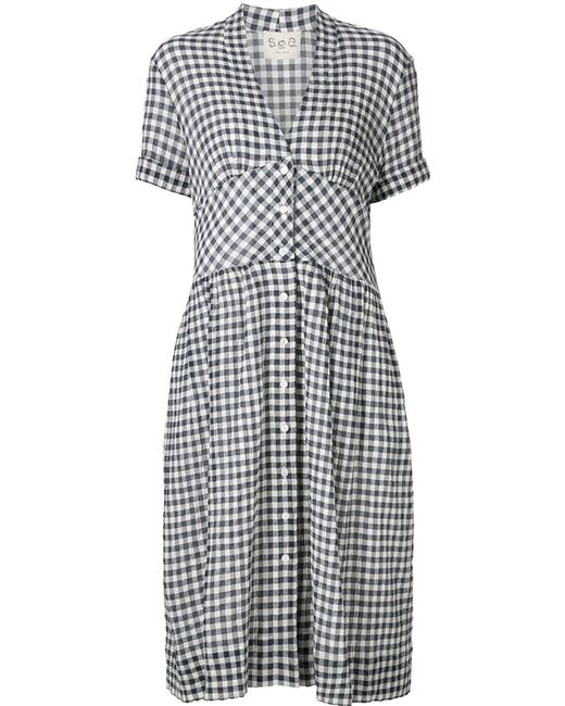 Sea gingham check shirt dress in blue navy save 45 lyst for Navy blue checkered dress shirt