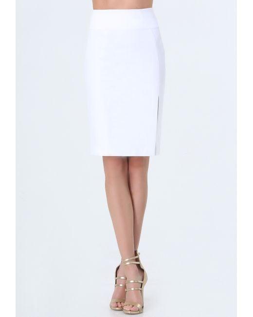 bebe josie pencil skirt in white bright white lyst