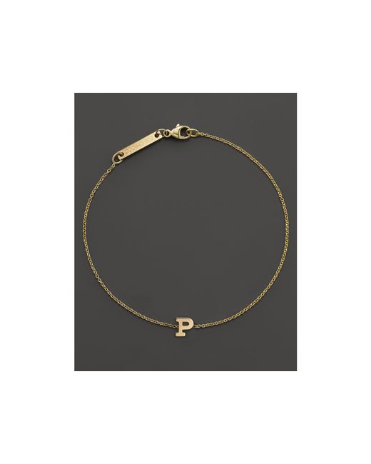 Zoe Chicco | 14k Yellow Gold Initial Bracelet | Lyst