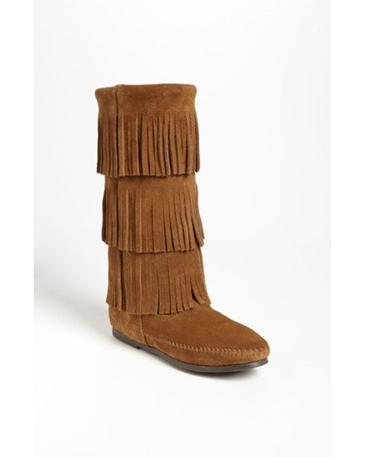 Minnetonka | Brown Layered Fringed Suede Boots | Lyst