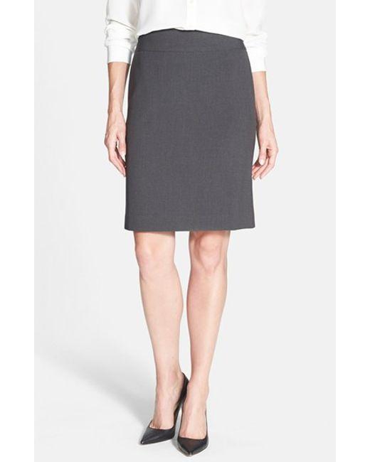 Anne Klein | Gray Yoke Seamed Pencil Skirt | Lyst