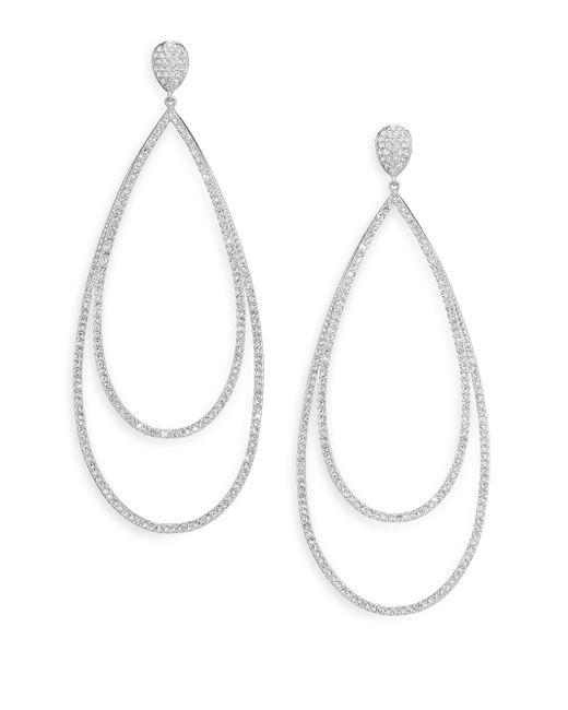 Adriana Orsini | Metallic Pave Crystal Double-tier Drop Earrings/silvertone | Lyst