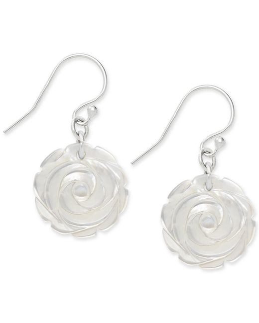 Macy's | Metallic Mother Of Pearl Carved Rose Drop Earrings In Sterling Silver (16mm) | Lyst