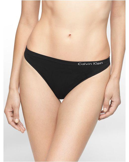 Calvin Klein   Black Underwear Pure Seamless Thong   Lyst