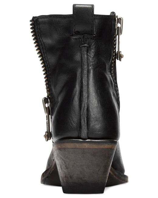 Frye | Black Sacha Side Zip Moto Booties | Lyst