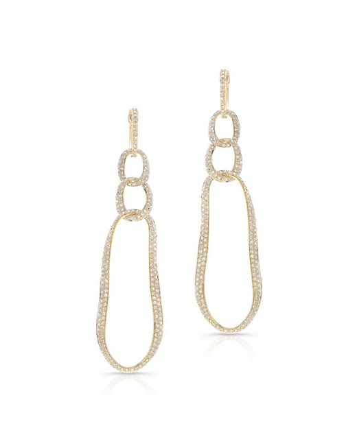 Anne Sisteron | Metallic 14kt Yellow Gold Diamond Chain Link Earrings | Lyst