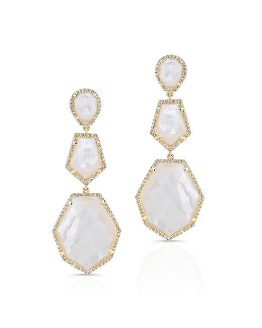 Anne Sisteron - Metallic 14kt Yellow Gold Mother Of Pearl Diamond Ice Earrings - Lyst