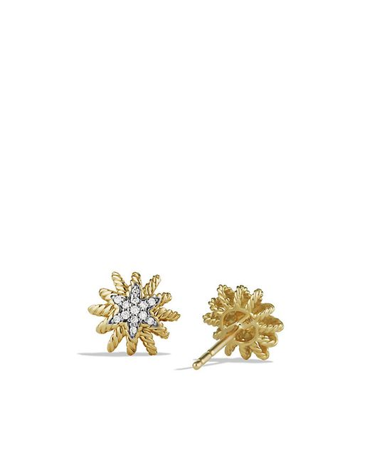 David Yurman | Metallic Starburst Earrings With Diamonds In 18k Gold, 10mm | Lyst