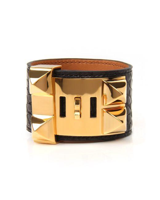 Hermès   Black Matte Alligator Collier De Chien Bracelet   Lyst