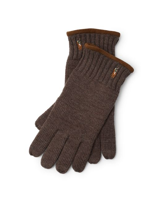 Polo Ralph Lauren | Brown Suede-trimmed Wool Gloves for Men | Lyst