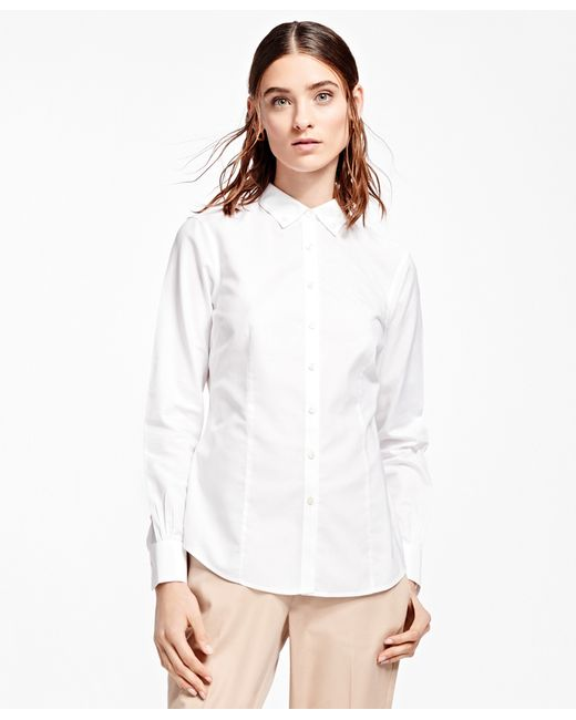 Brooks Brothers Tailored Fit Non Iron Dress Shirt In White