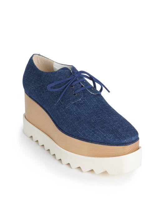stella mccartney denim platform derby shoes in blue save