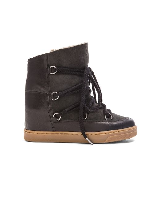 isabel marant nowles leather ankle boots in black save 52 lyst. Black Bedroom Furniture Sets. Home Design Ideas
