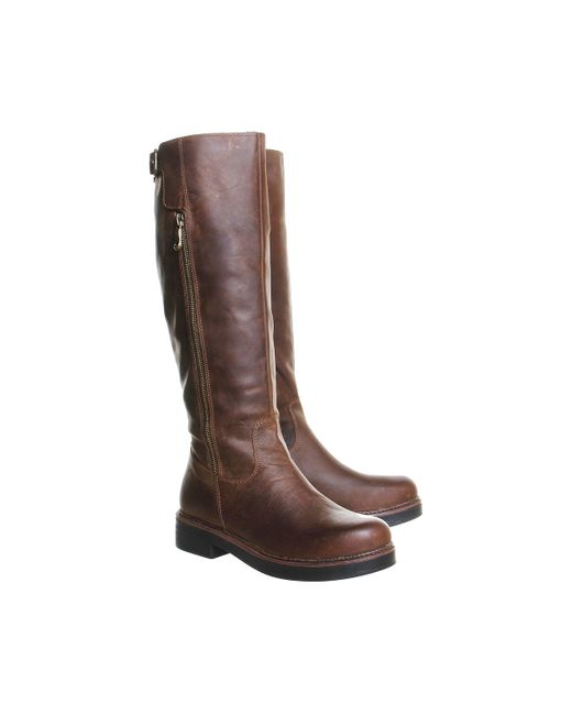office eagle buckle knee boots in brown save 50 lyst