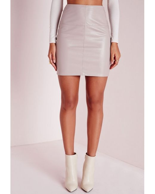 missguided faux leather mini skirt grey in gray grey lyst