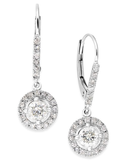 Macy's | Metallic Diamond Dangle Drop Earrings In 14k White Gold (1 Ct. T.w.) | Lyst