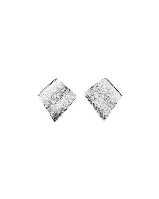 Azendi | Metallic Sterling Silver Brushed Diamond Stud Earring | Lyst