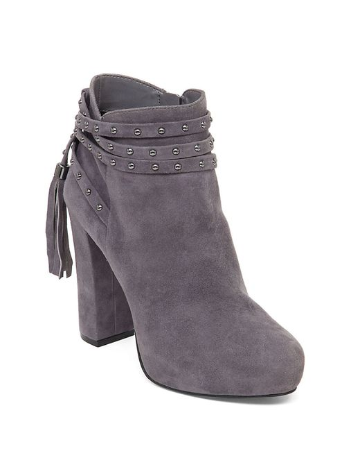 Jessica Simpson | Gray Marguerit Suede Bootie | Lyst