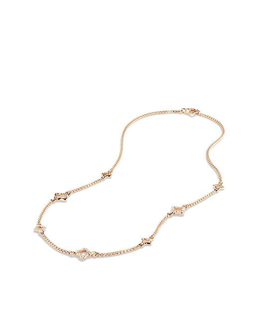 David Yurman | Pink Venetian Quatrefoil Chain Necklace With Diamonds In Rose Gold | Lyst