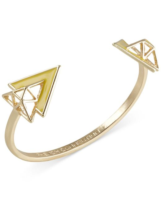 French Connection | Yellow Gold-tone Openwork Triangle Cuff Bracelet | Lyst