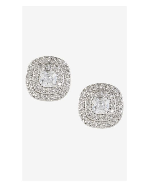 Express | Metallic Double Halo Cubic Zirconia Stud Earrings | Lyst