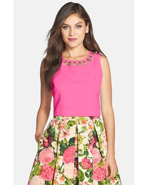 Eliza J | Pink Embellished Faille Top | Lyst